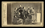 Rare 1860s Group Cdv Civil War Sailors And Women Holding Ring And Wand Sports Equip