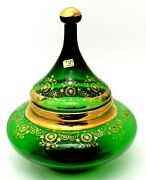 Rare Vintage 1950and039s Lime Green Glass W/ Gold Ornaments Italian Lidded Candy Bowl