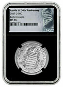 2019-d Apollo 11 50th Anniv. Half Dollar Ngc Early Releases Ms 70 Finest Known G