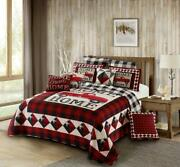 Buffalo Plaid Farmhouse Red Truck Printed King Quilt Set Home Sweet Home Lodge