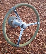 Vintage Drum And Hub Pulley Boat Steering Assembly And Steering Wheel Boat Parts