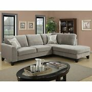 Porter Reese Dove Grey Sectional Sofa With Optional Ottoman Grey Transitional C