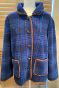Orvis Blue Plaid Sherpa Fleece Toggle Jacket W/ Brown Piping Size Xl.  P13978