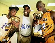 Kobe Bryant Signed Autographed Photo Shaquille O'neal And Magic Johnson Beckett 🔥