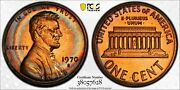 1970-s Lincoln Cent Large Date Pcgs Pr66rb Proof Unc Rainbow Toned Deep Dr