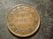 1858 Vf Xf Canada Large Cent Full Rims Devices Coin Bff