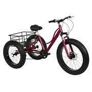 24inch 7 Speed Adult Tricycle 3-wheel Trike Cruiser Bicycle W/ Shopping Basket