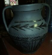 Frankenmuth Gallery Art Studio Pottery Artist Signed And Dated Black On Black Vase