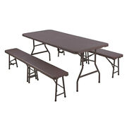 Folding Table And Benches Set 6 Ft Camping Table And 2 Benches Ratten In/outdoor