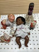 Vintage Lot Of 5 Irwin Wind-up Crawling Baby Doll Toy Ideal Belly Button Crying