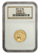 1914-d 5 Ngc Ms61 - Indian Half Eagle - Gold Coin