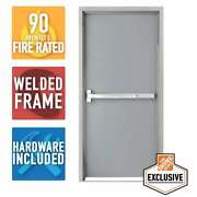 36 In. X 80 In. Fire-rated Gray Right-hand Flush Steel Prehung Commercial Door