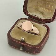 Antique 9ct Rose Gold Round Face Signet Ring Chester