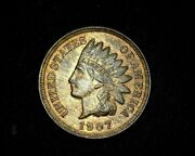 Hsandc 1907 Indian Head Penny/cent Bu Red/brown - Us Coin