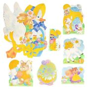 Vintage Easter Die Cut Set Of 7 Cardboard Double Sided Yellow Flocked Areas Euc