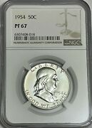 1954 P Ngc Pf67 Proof Ben Franklin Half Dollar 50c 90 Silver White Coins