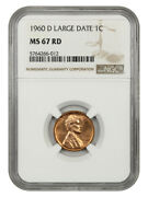 1960-d 1c Ngc Ms67 Rd Large Date Lincoln Memorial Small Cents 1959-2008
