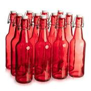 16.9 Oz. Red Glass Grolsch Beer Bottle, Quart Size - Airtight Seal With 12-pack