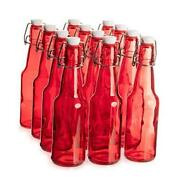 11 Oz. Red Glass Grolsch Beer Bottle, Quart Size - Airtight Seal With 12-pack