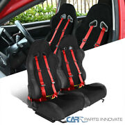 Left+right Black Suede Stitch Pvc Leather Racing Seats+red 4pt Seat Belt Harness