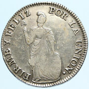 1836b Peru South America Antique Libery Coat Of Arms Silver 4 Reales Coin I97694