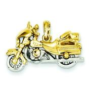 14k Two Tone Gold 3-d Moveable Motorcycle Pendant Jewerly 18.1mm X 27.3mm