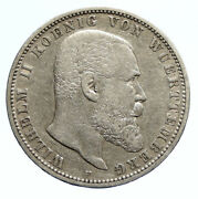 1900f Germany German States Wurttemberg Wilhelm Ii Antique Silver 5m Coin I96249