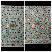 Marble Top Food Serving Tray Inlaid Marquetry Floral Fine Art Best Wedding Gifts