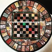Marble Chess Dining Playing Table Precious Mosaic Inlaid Art Outdoor Decor H3984