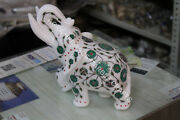 10 Trunk Up Marble Elephant Statue Malachite Inlay Design Living Decor H5719a