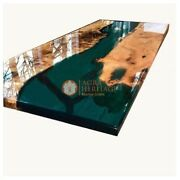 Olive Epoxy Table Acacia Resin Table Epoxy Dining Table Green Resin Decorative
