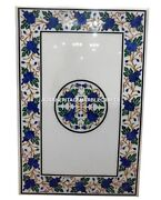 White Marble Dining Table Lapis Grape Stone Inlay Furniture Gift Art Decor H3294