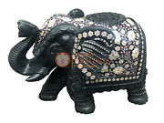 Black Marble Trunk Up Standing Elephant Statue Precious Inlay Gift Decor E880