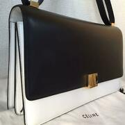 Celine Leather Shoulder Bag Calfskin Black And White Classic Box Long Type Auth