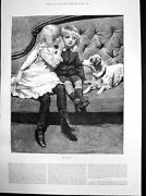 Old Antique Print The Secret Girl Whispering To Boy On Sofa With Dog 1884 19th