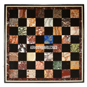 Marble Dining Chess Table Top Multi Inlaid Stones Columbus Day Decor H4009