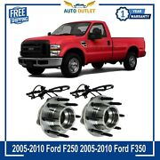 New Front Bearing Pair And Wheel Hub With Abs 4wd 4x4 Srw For F250 F350 F450 F550