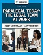 Paralegal Today The Legal Team At Work Hardcover By Miller Roger Leroy M...