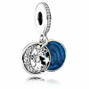 New Authentic Pandora Moon And Blue Sky Dangle Sterling Silver Charm 791993cz