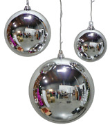 4 - 18in Large Shiny Silver Christmas Ball Ornaments Shatterproof Plastic 450mm