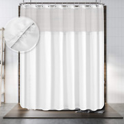 Hotel Style Shower Curtain With Snap-in Fabric Liner 180 X 70 For Clawfoot Tu