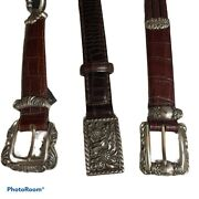 Brighton Belts For Women Size Small Lot If 3 Brown Black Silver Buckle Leather