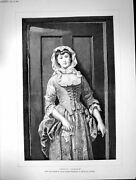 Antique Old Print Dolly Varden Edgar Hanley Royal Academy Young Woman 1883 19th