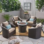 Pollock Outdoor 4 Piece Wicker Swivel Chair Set With Fire Multi Brown, Mixed Kha
