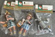 3 Wizard Of Oz Ornaments Dorothy Tinman 70and039s 80and039s Vintage Kurt Adler Christmas