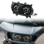 Black Dot Led Dual Double Headlight Fit For Harley Touring Road Glide 2015-2020