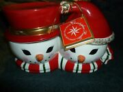 Christopher Radko Shiny Brite Mr Mrs Snowman Home For The Holidays Cookie Jar