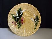 Schramberg Germany Majolica Pottery Lily Of The Valley Fan Weave Gold 9 Plate B