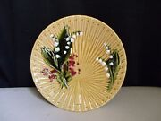 Schramberg Germany Majolica Pottery Lily Of The Valley Fan Weave Gold 9 Plate C