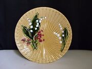 Schramberg Germany Majolica Pottery Lily Of The Valley Fan Weave Gold 9 Plate D